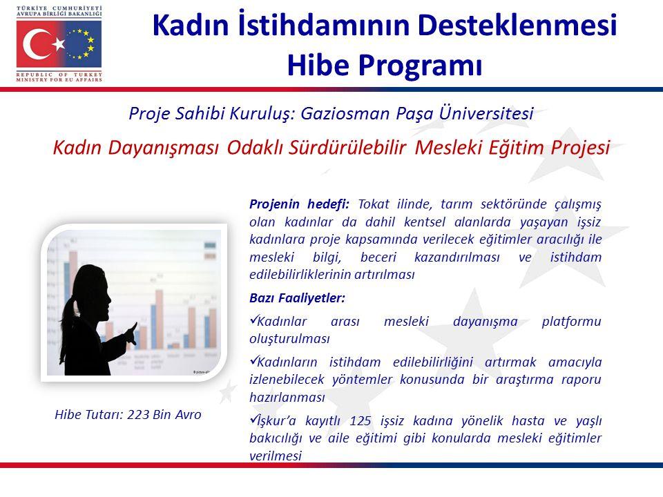 Kadın İstihdamının Desteklenmesi Hibe Programı Proje Sahibi Kuruluş: Gaziosman Paşa Üniversitesi Kadın Dayanışması Odaklı Sürdürülebilir Mesleki Eğiti