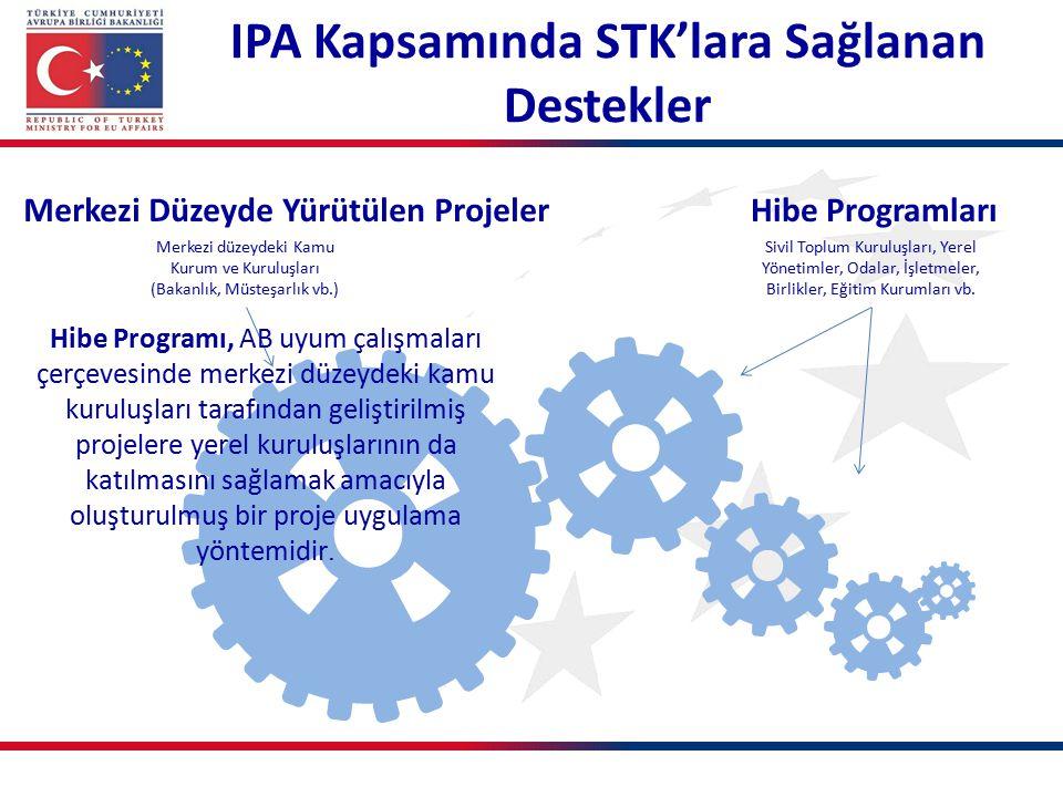 Merkezi Düzeyde Yürütülen ProjelerHibe Programları Merkezi düzeydeki Kamu Kurum ve Kuruluşları (Bakanlık, Müsteşarlık vb.) Sivil Toplum Kuruluşları, Y