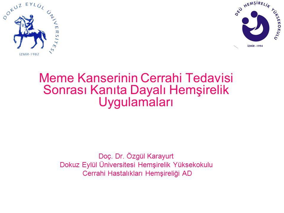 Meme Kanserinin Cerrahi Tedavisi Sonrası Kanıta Dayalı Hemşirelik Uygulamaları Doç. Dr. Özgül Karayurt Dokuz Eylül Üniversitesi Hemşirelik Yüksekokulu