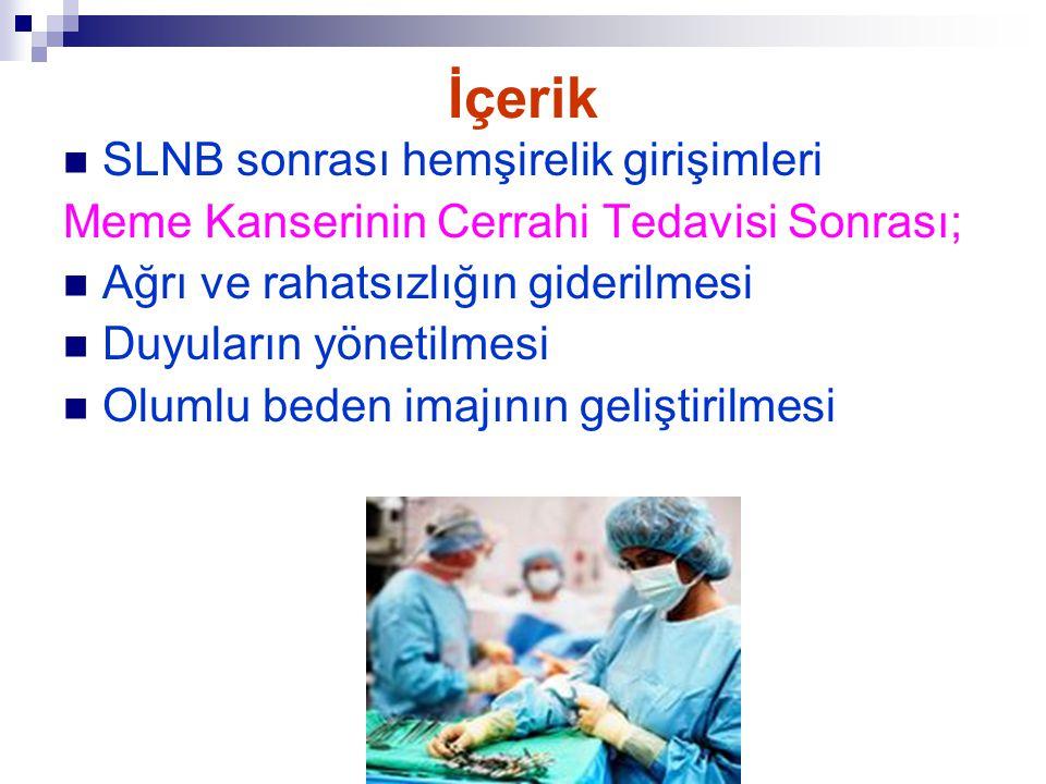 İçerik SLNB sonrası hemşirelik girişimleri Meme Kanserinin Cerrahi Tedavisi Sonrası; Ağrı ve rahatsızlığın giderilmesi Duyuların yönetilmesi Olumlu be
