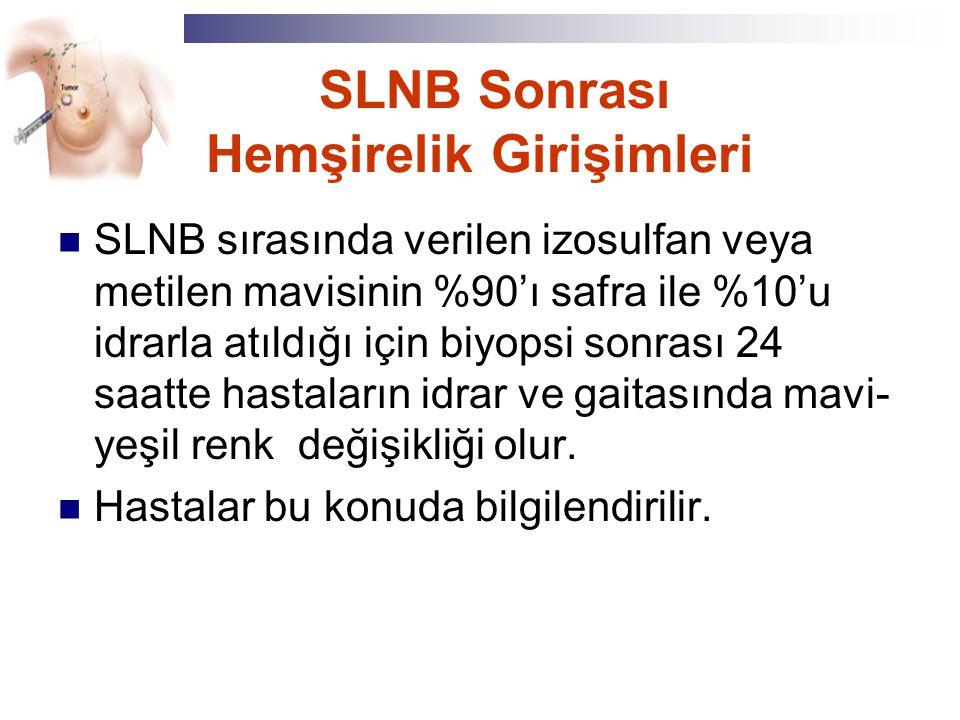 SLNB Sonrası Hemşirelik Girişimleri SLNB sırasında verilen izosulfan veya metilen mavisinin %90'ı safra ile %10'u idrarla atıldığı için biyopsi sonras