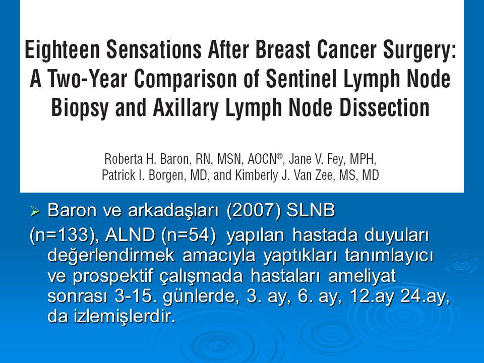  Baron ve arkadaşları (2007) SLNB (n=133), ALND (n=54) yapılan hastada duyuları değerlendirmek amacıyla yaptıkları tanımlayıcı ve prospektif çalışmada hastaları ameliyat sonrası 3-15.