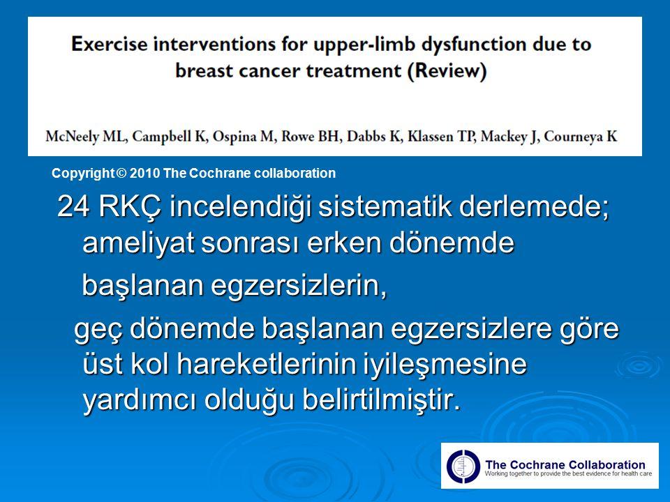 24 RKÇ incelendiği sistematik derlemede; ameliyat sonrası erken dönemde başlanan egzersizlerin, başlanan egzersizlerin, geç dönemde başlanan egzersizlere göre üst kol hareketlerinin iyileşmesine yardımcı olduğu belirtilmiştir.