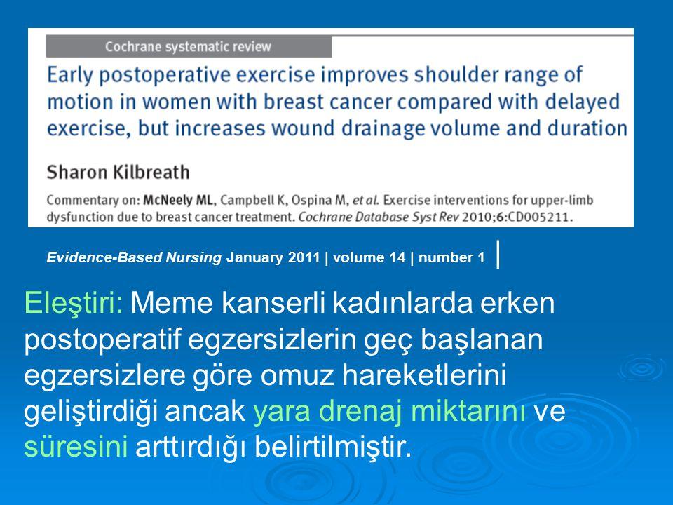 Eleştiri: Meme kanserli kadınlarda erken postoperatif egzersizlerin geç başlanan egzersizlere göre omuz hareketlerini geliştirdiği ancak yara drenaj miktarını ve süresini arttırdığı belirtilmiştir.