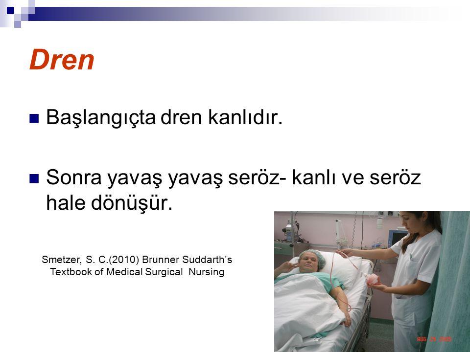 Dren Başlangıçta dren kanlıdır. Sonra yavaş yavaş seröz- kanlı ve seröz hale dönüşür. Smetzer, S. C.(2010) Brunner Suddarth's Textbook of Medical Surg
