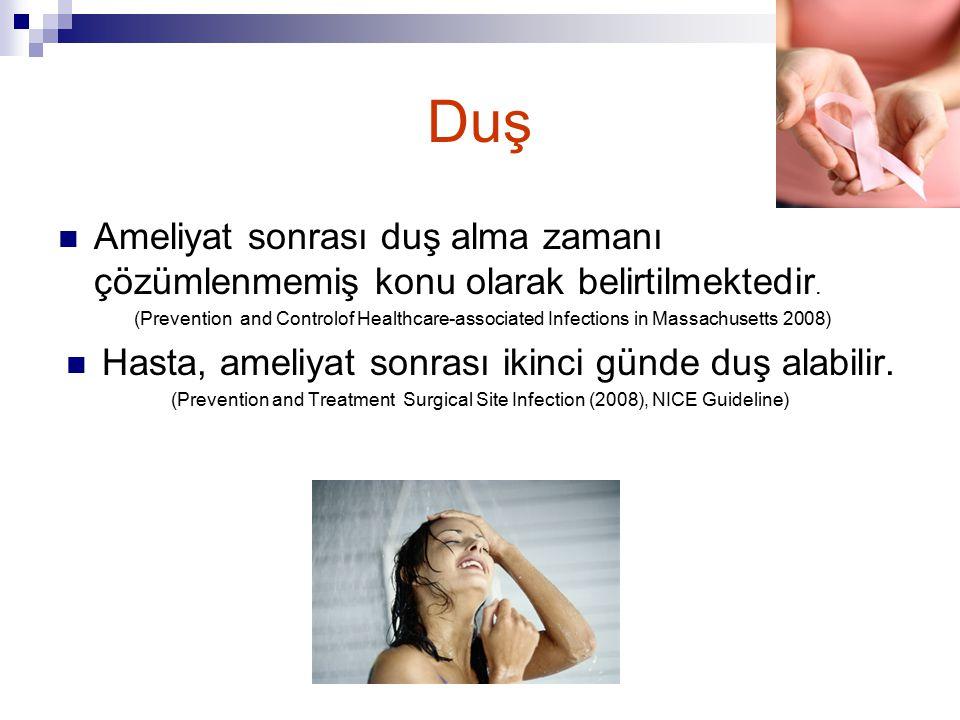 Duş Ameliyat sonrası duş alma zamanı çözümlenmemiş konu olarak belirtilmektedir. (Prevention and Controlof Healthcare-associated Infections in Massach