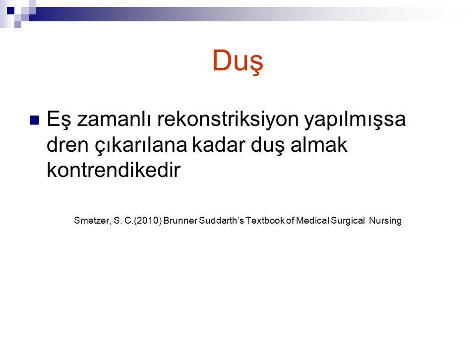 Duş Eş zamanlı rekonstriksiyon yapılmışsa dren çıkarılana kadar duş almak kontrendikedir Smetzer, S. C.(2010) Brunner Suddarth's Textbook of Medical S