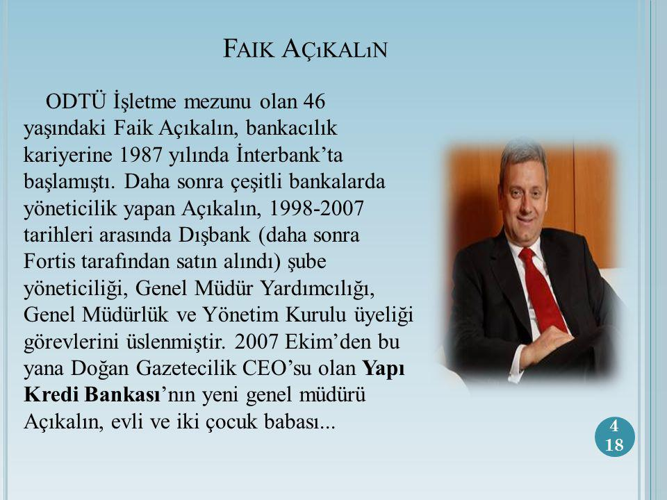 F AIK A ÇıKALıN ODTÜ İşletme mezunu olan 46 yaşındaki Faik Açıkalın, bankacılık kariyerine 1987 yılında İnterbank'ta başlamıştı.