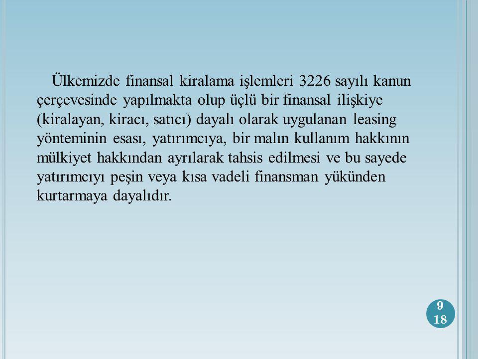 Ülkemizde finansal kiralama işlemleri 3226 sayılı kanun çerçevesinde yapılmakta olup üçlü bir finansal ilişkiye (kiralayan, kiracı, satıcı) dayalı olarak uygulanan leasing yönteminin esası, yatırımcıya, bir malın kullanım hakkının mülkiyet hakkından ayrılarak tahsis edilmesi ve bu sayede yatırımcıyı peşin veya kısa vadeli finansman yükünden kurtarmaya dayalıdır.
