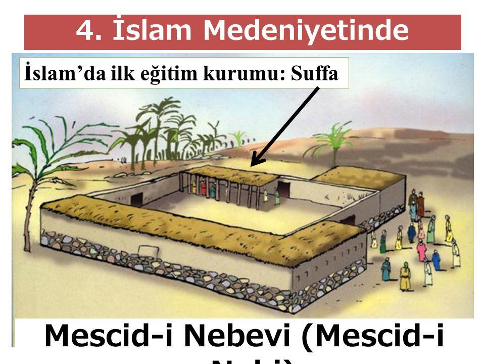 4. İslam Medeniyetinde Eğitim Kurumları Mescid-i Nebevi (Mescid-i Nebi) İslam'da ilk eğitim kurumu: Suffa