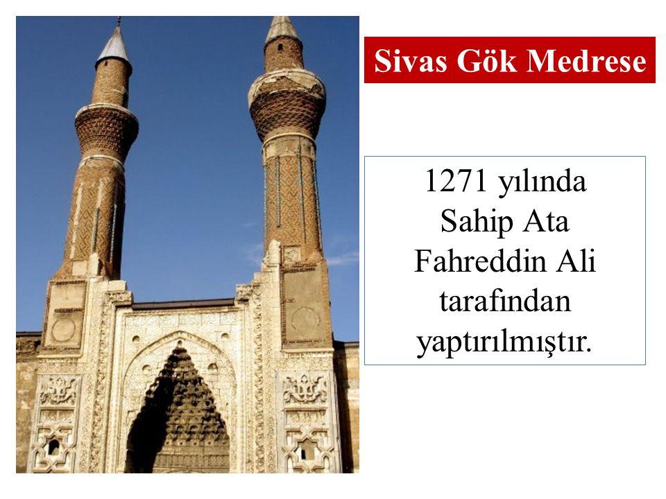 1271 yılında Sahip Ata Fahreddin Ali tarafından yaptırılmıştır. Sivas Gök Medrese