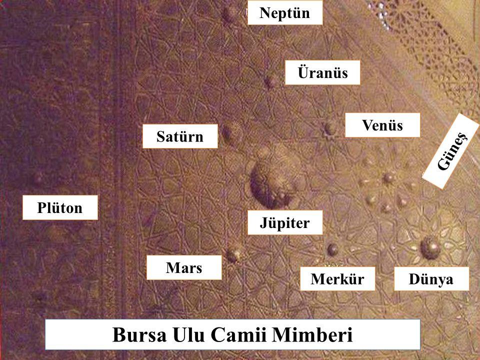 Bursa Ulu Camii Mimberi Neptün Üranüs Venüs Satürn Plüton Mars MerkürDünya Güneş Jüpiter