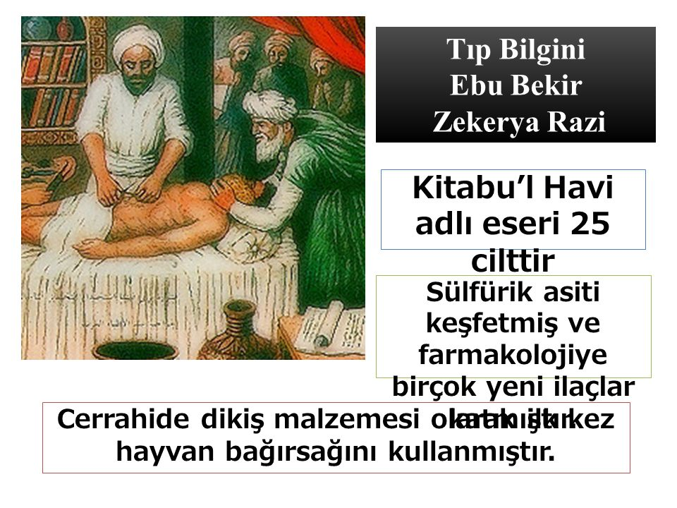 Tıp Bilgini Ebu Bekir Zekerya Razi Cerrahide dikiş malzemesi olarak ilk kez hayvan bağırsağını kullanmıştır.