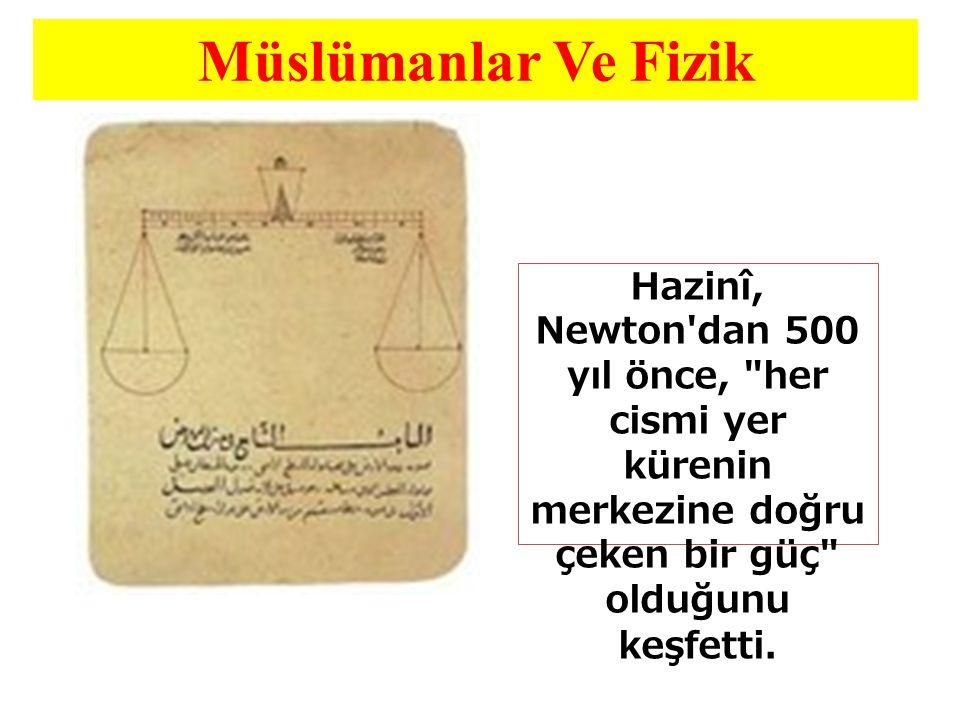 Müslümanlar Ve Fizik Hazinî, Newton dan 500 yıl önce, her cismi yer kürenin merkezine doğru çeken bir güç olduğunu keşfetti.
