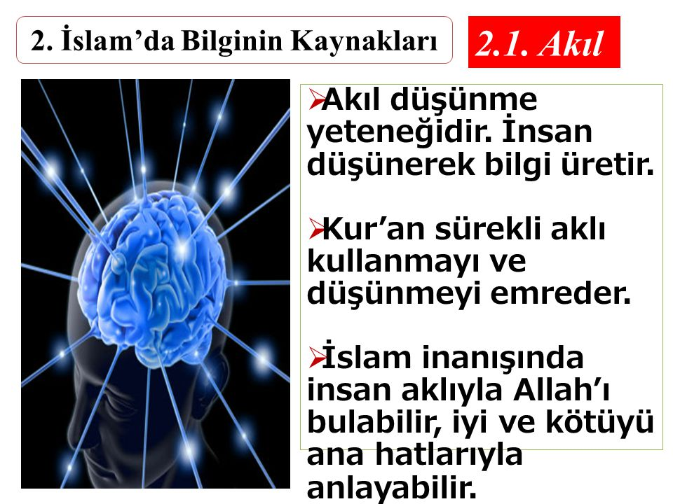 İslâm Bilimsel Yöntemlerle Araştırılmalı ve Öğrenilmelidir İslam İnancı Özgür irade ile gerçekleşmeli Taklide veya taassuba dayanmamalıdır.