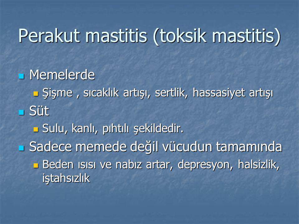 Perakut mastitis (toksik mastitis) Memelerde Memelerde Şişme, sıcaklık artışı, sertlik, hassasiyet artışı Şişme, sıcaklık artışı, sertlik, hassasiyet artışı Süt Süt Sulu, kanlı, pıhtılı şekildedir.