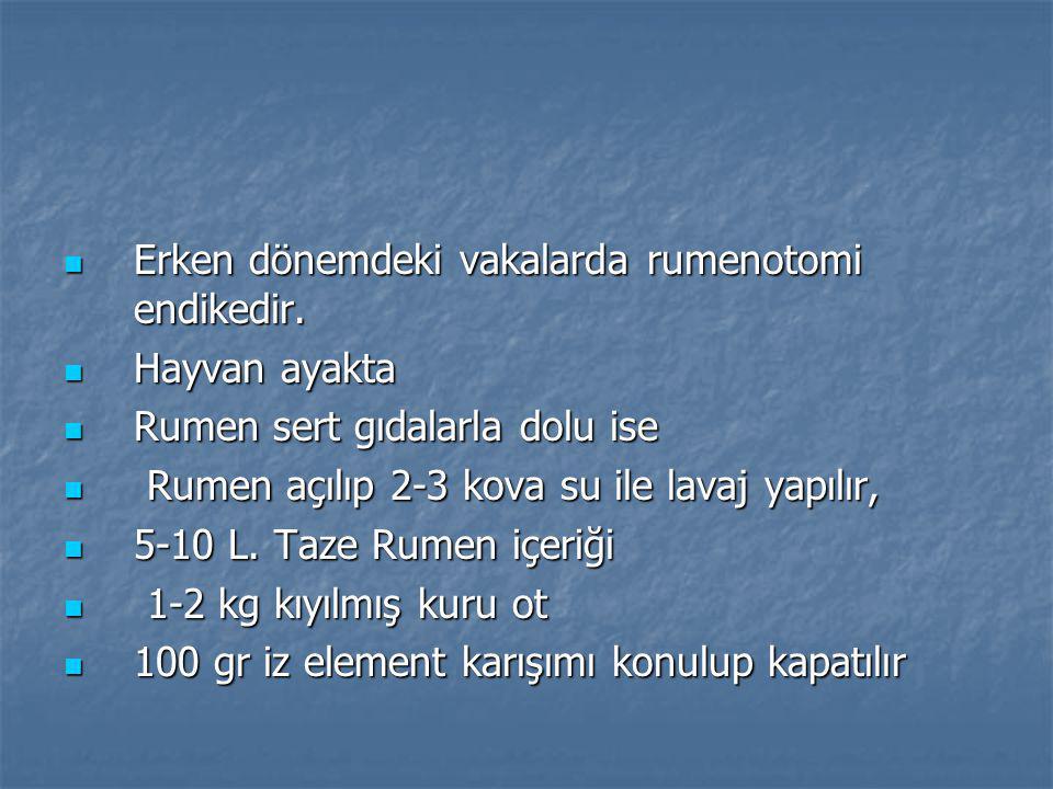 Erken dönemdeki vakalarda rumenotomi endikedir.Erken dönemdeki vakalarda rumenotomi endikedir.