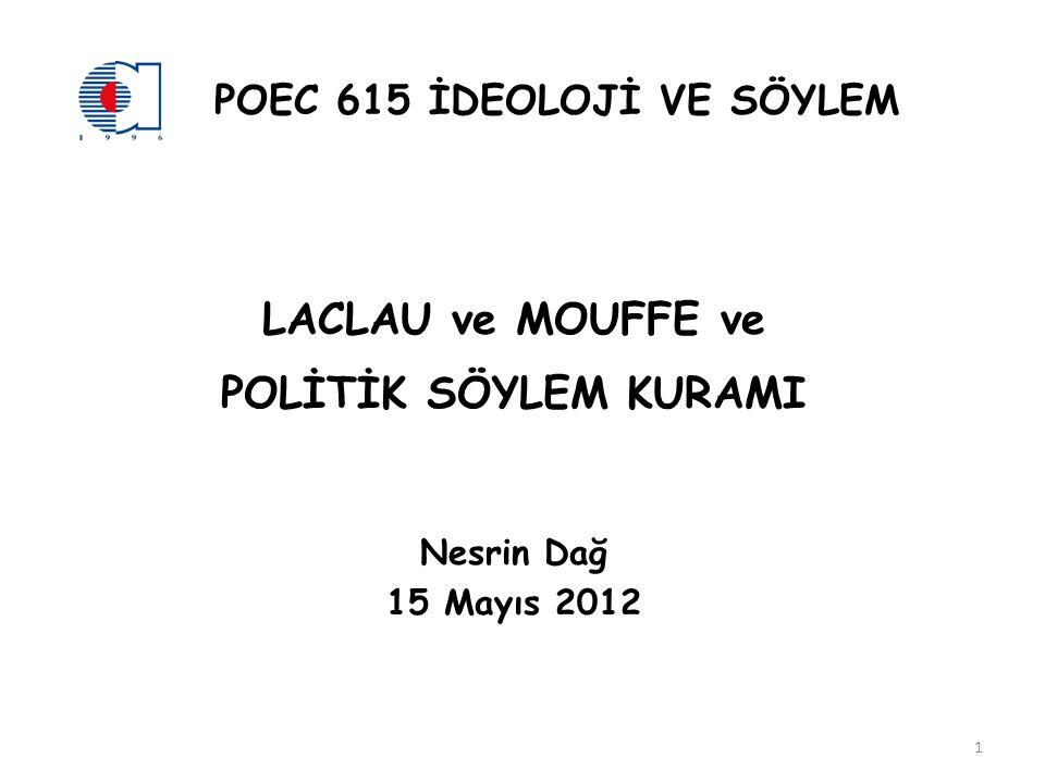 POEC 615 İDEOLOJİ VE SÖYLEM LACLAU ve MOUFFE ve POLİTİK SÖYLEM KURAMI Nesrin Dağ 15 Mayıs 2012 1