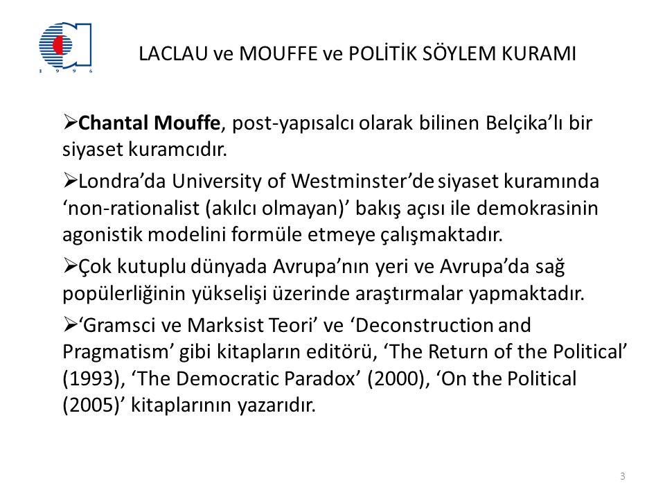 LACLAU ve MOUFFE ve POLİTİK SÖYLEM KURAMI  Chantal Mouffe, post-yapısalcı olarak bilinen Belçika'lı bir siyaset kuramcıdır.
