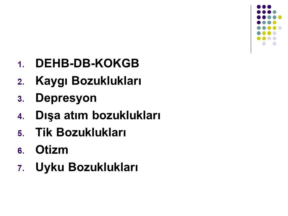 1. DEHB-DB-KOKGB 2. Kaygı Bozuklukları 3. Depresyon 4. Dışa atım bozuklukları 5. Tik Bozuklukları 6. Otizm 7. Uyku Bozuklukları