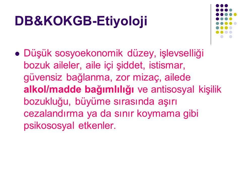 DB&KOKGB-Etiyoloji Düşük sosyoekonomik düzey, işlevselliği bozuk aileler, aile içi şiddet, istismar, güvensiz bağlanma, zor mizaç, ailede alkol/madde