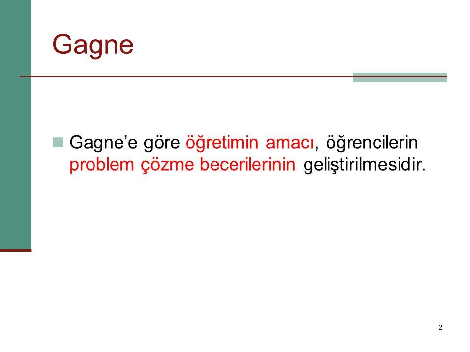 2 Gagne'e göre öğretimin amacı, öğrencilerin problem çözme becerilerinin geliştirilmesidir. Gagne