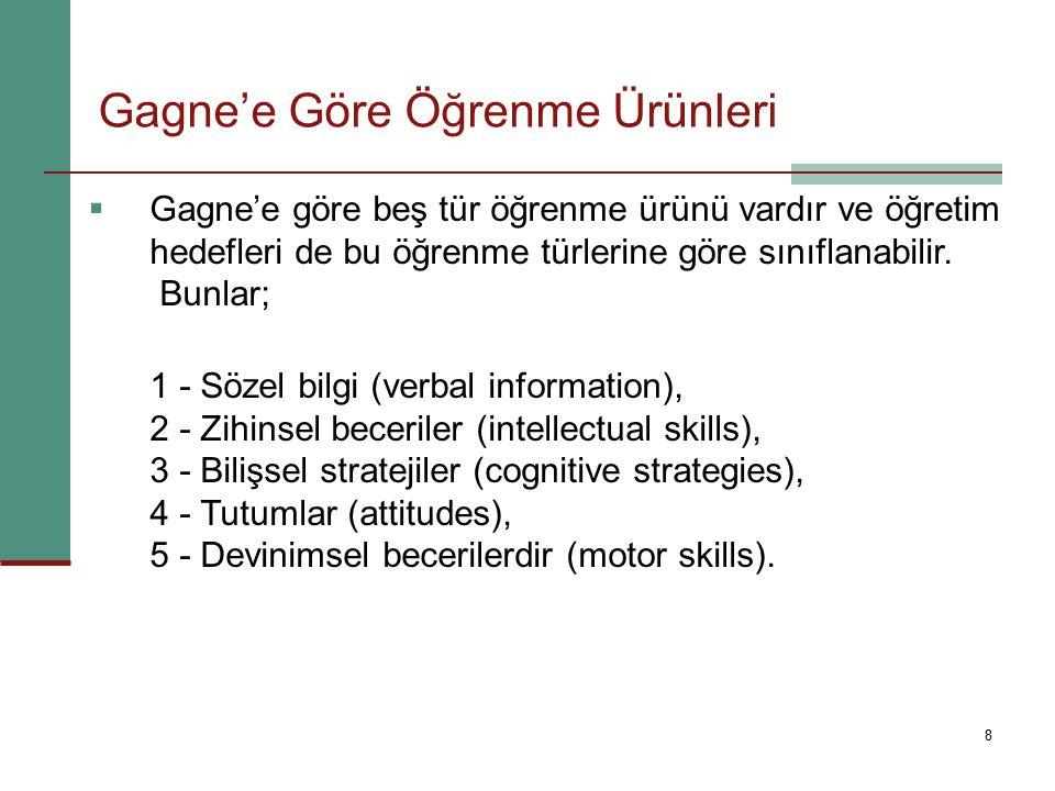 8  Gagne'e göre beş tür öğrenme ürünü vardır ve öğretim hedefleri de bu öğrenme türlerine göre sınıflanabilir. Bunlar; 1 - Sözel bilgi (verbal inform