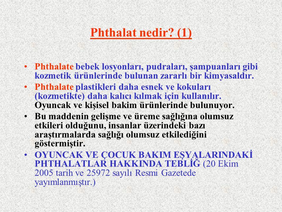 Phthalat nedir? (1) Phthalate bebek losyonları, pudraları, şampuanları gibi kozmetik ürünlerinde bulunan zararlı bir kimyasaldır. Phthalate plastikler