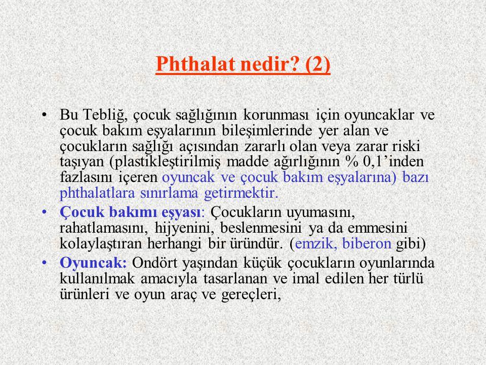 Phthalat nedir? (2) Bu Tebliğ, çocuk sağlığının korunması için oyuncaklar ve çocuk bakım eşyalarının bileşimlerinde yer alan ve çocukların sağlığı açı
