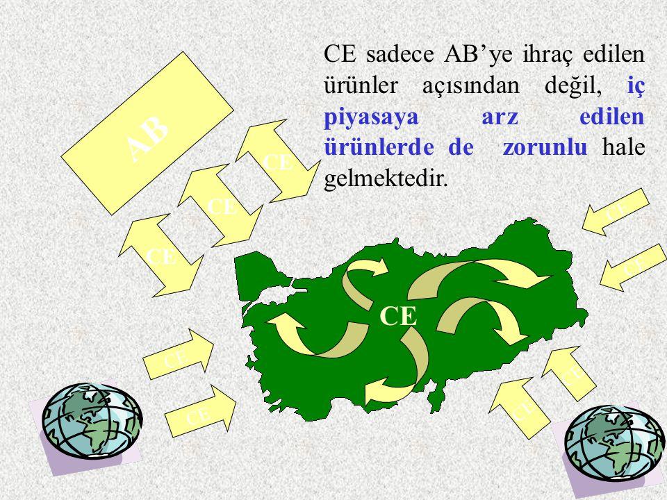 AB CE CE sadece AB'ye ihraç edilen ürünler açısından değil, iç piyasaya arz edilen ürünlerde de zorunlu hale gelmektedir. CE
