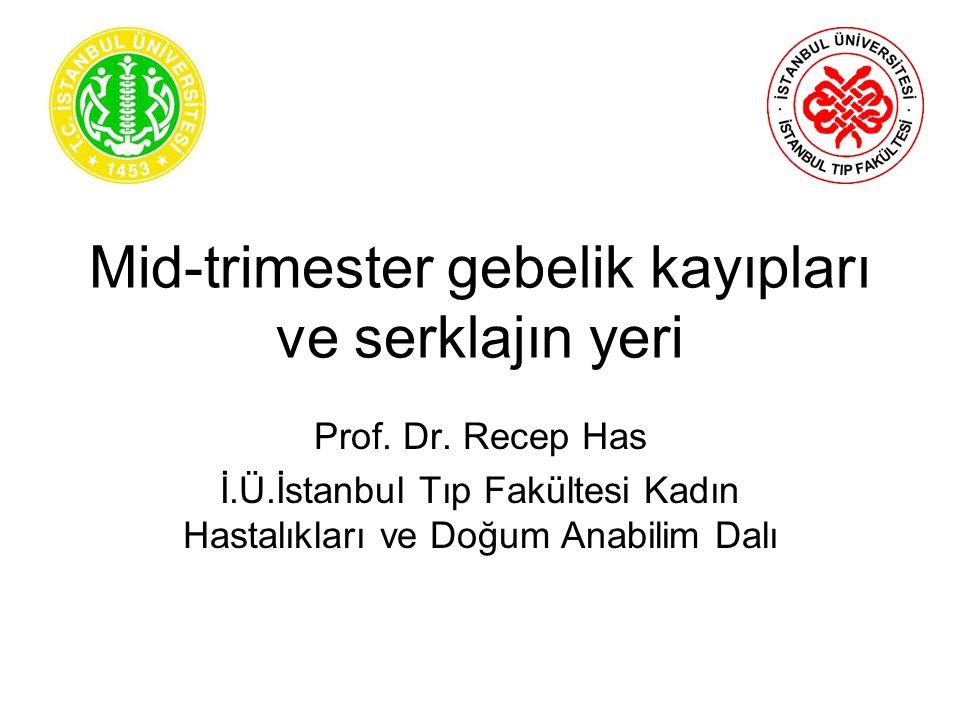 Mid-trimester gebelik kayıpları ve serklajın yeri Prof. Dr. Recep Has İ.Ü.İstanbul Tıp Fakültesi Kadın Hastalıkları ve Doğum Anabilim Dalı