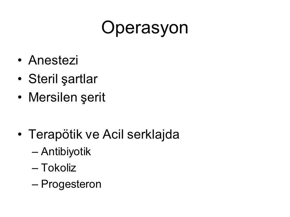 Operasyon Anestezi Steril şartlar Mersilen şerit Terapötik ve Acil serklajda –Antibiyotik –Tokoliz –Progesteron