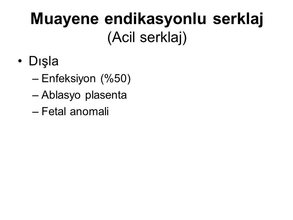 Muayene endikasyonlu serklaj (Acil serklaj) Dışla –Enfeksiyon (%50) –Ablasyo plasenta –Fetal anomali