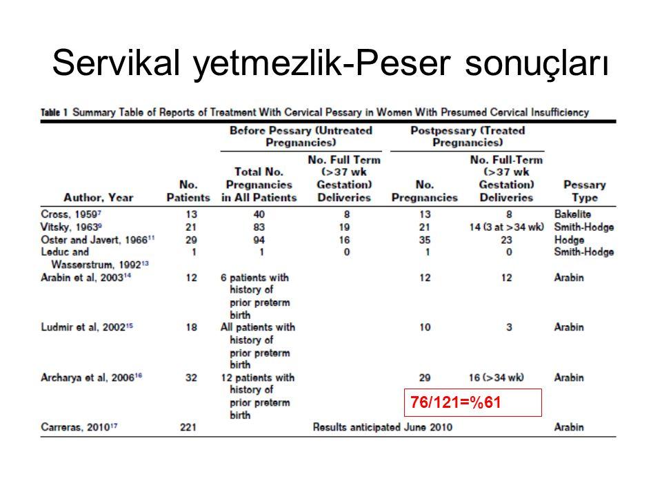 Servikal yetmezlik-Peser sonuçları 76/121=%61