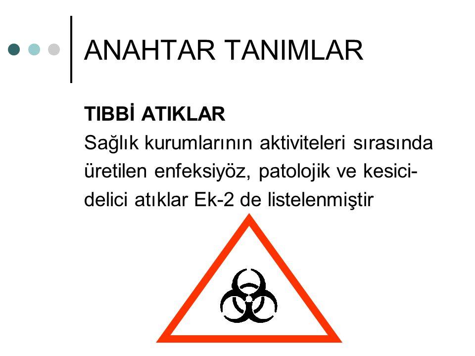 ANAHTAR TANIMLAR TIBBİ ATIKLAR Sağlık kurumlarının aktiviteleri sırasında üretilen enfeksiyöz, patolojik ve kesici- delici atıklar Ek-2 de listelenmiştir