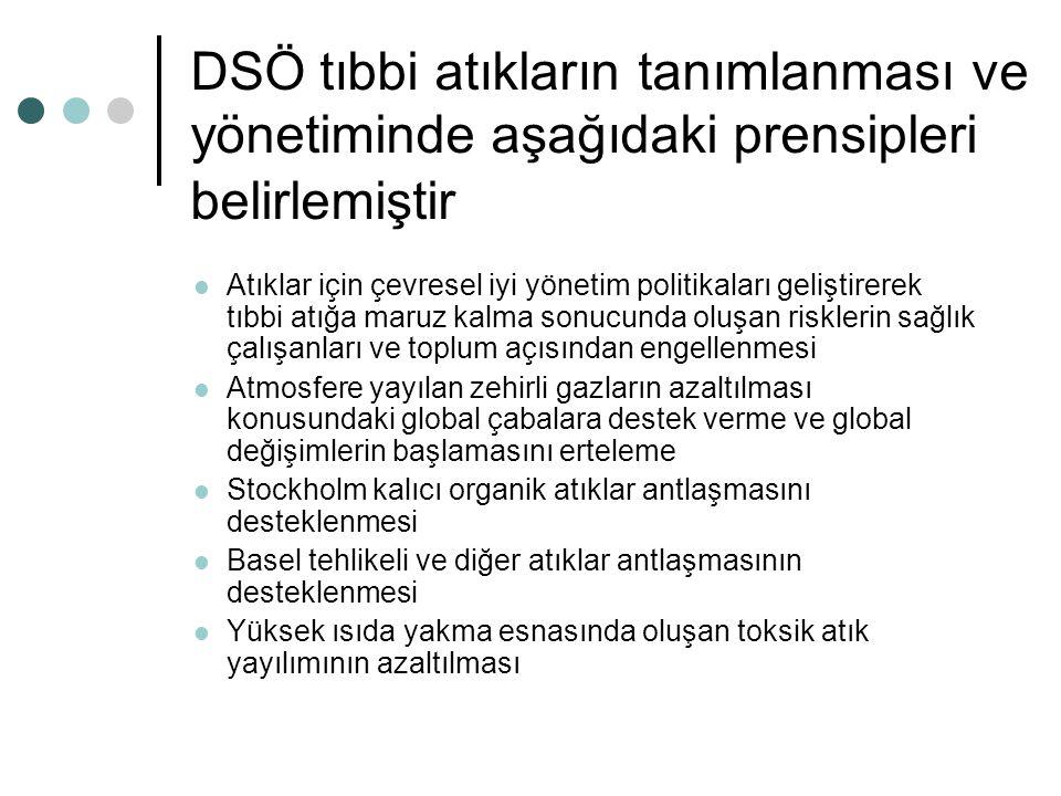 DSÖ tıbbi atıkların tanımlanması ve yönetiminde aşağıdaki prensipleri belirlemiştir Atıklar için çevresel iyi yönetim politikaları geliştirerek tıbbi atığa maruz kalma sonucunda oluşan risklerin sağlık çalışanları ve toplum açısından engellenmesi Atmosfere yayılan zehirli gazların azaltılması konusundaki global çabalara destek verme ve global değişimlerin başlamasını erteleme Stockholm kalıcı organik atıklar antlaşmasını desteklenmesi Basel tehlikeli ve diğer atıklar antlaşmasının desteklenmesi Yüksek ısıda yakma esnasında oluşan toksik atık yayılımının azaltılması