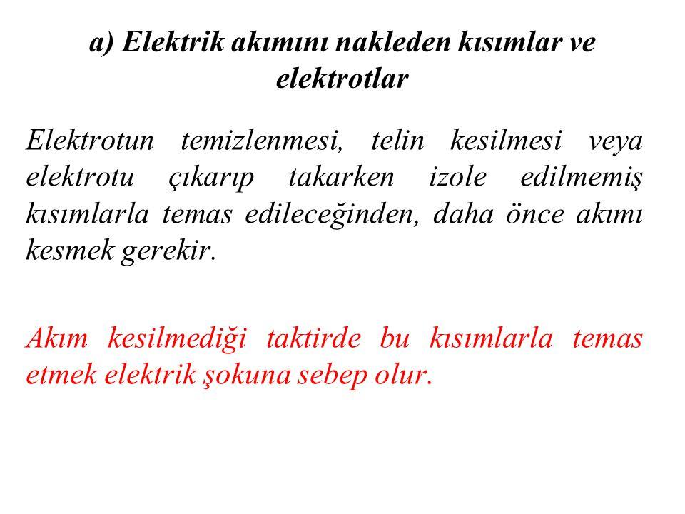 a) Elektrik akımını nakleden kısımlar ve elektrotlar Elektrotun temizlenmesi, telin kesilmesi veya elektrotu çıkarıp takarken izole edilmemiş kısımlar
