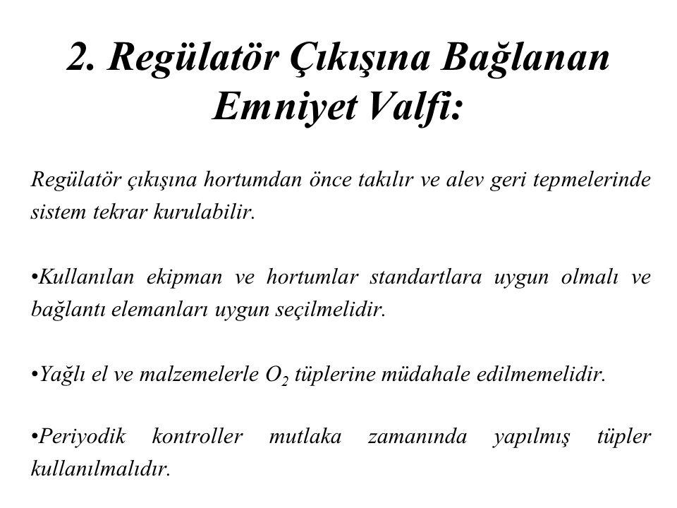 2. Regülatör Çıkışına Bağlanan Emniyet Valfi: Regülatör çıkışına hortumdan önce takılır ve alev geri tepmelerinde sistem tekrar kurulabilir. Kullanıla