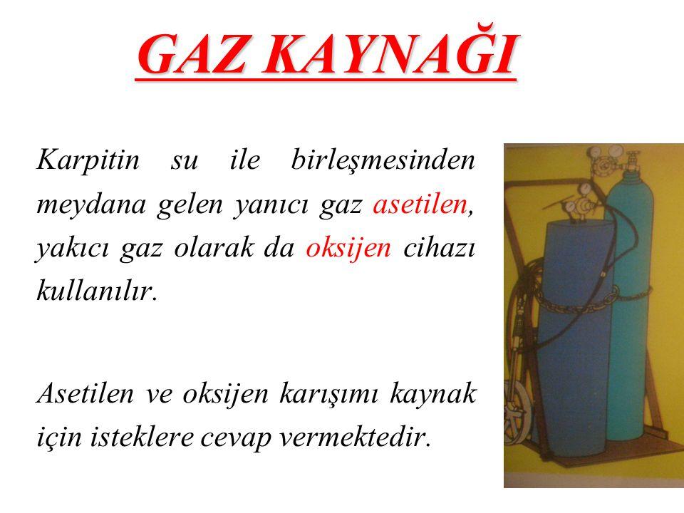GAZ KAYNAĞI Karpitin su ile birleşmesinden meydana gelen yanıcı gaz asetilen, yakıcı gaz olarak da oksijen cihazı kullanılır. Asetilen ve oksijen karı