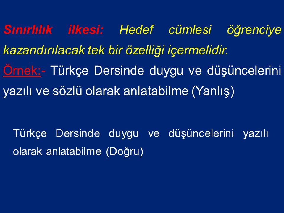 Genellik ve Sınırlılık Örneğin: -Türkçe Derinde Günümüz Türkçesiyle yazılmış düzeyine uygun bir metni anlayabilme