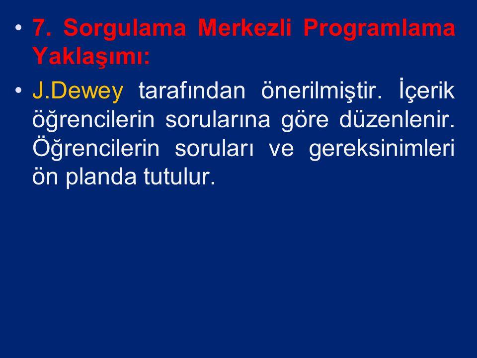 6. Konu Ağı-Proje Merkezli Program Yaklaşımı: J.Dewey tarafından önerilmiştir. Öğrencilere konuların ağı bir harita gibi çıkarılır. Belirli zamanlarda