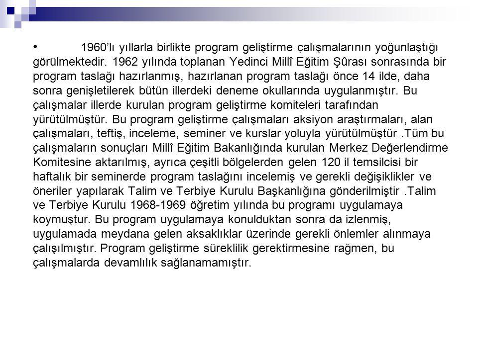 1953-1954 öğretim yılında Bolu ve İstanbul'daki deneme okullarında uygulanmaya başlanmıştır.Daha sonra 1954-1955 öğretim yılında ortaöğretim düzeyinde