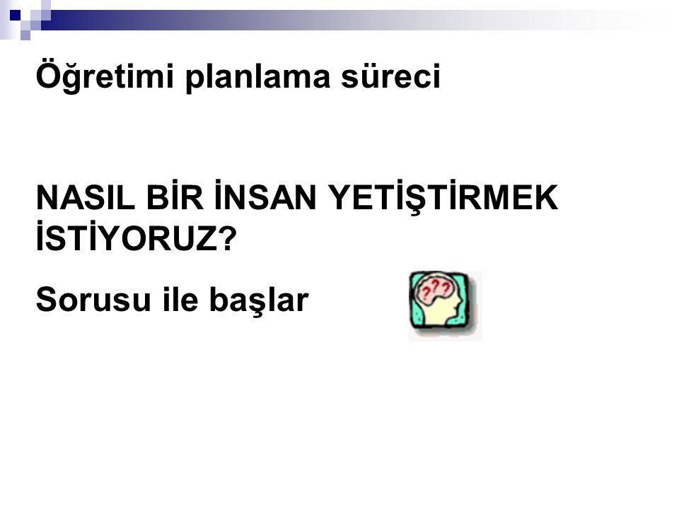4) Öğrenciye Davranışına Dönüklük : Örnek: - Türkçe Der.de noktalama işaretlerini kullanma becerisinin öğretilmesi (Yanlış).