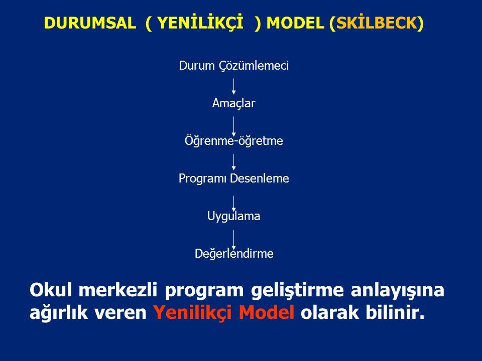 1.RASYONEL PLANLAMA MODELİ (TAYLOR VE RİCHARD) Genel Amaçlar Amaçlar Öğrenme Durumları Değerlendirme Taba-Tyler yaklaşışıma uygundur. Teknokratik mode