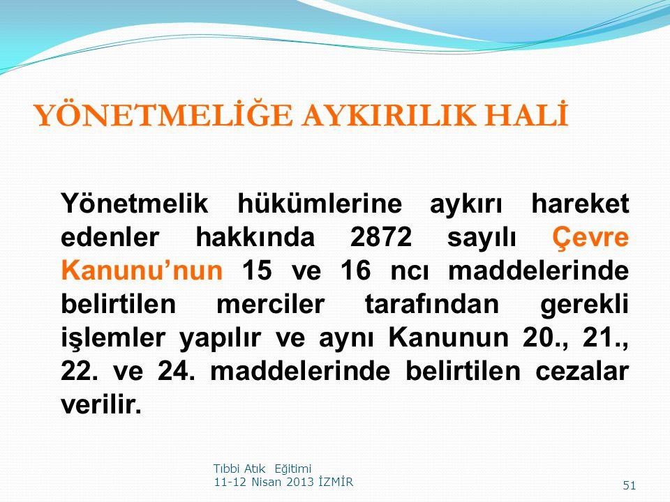 YÖNETMELİĞE AYKIRILIK HALİ Yönetmelik hükümlerine aykırı hareket edenler hakkında 2872 sayılı Çevre Kanunu'nun 15 ve 16 ncı maddelerinde belirtilen me