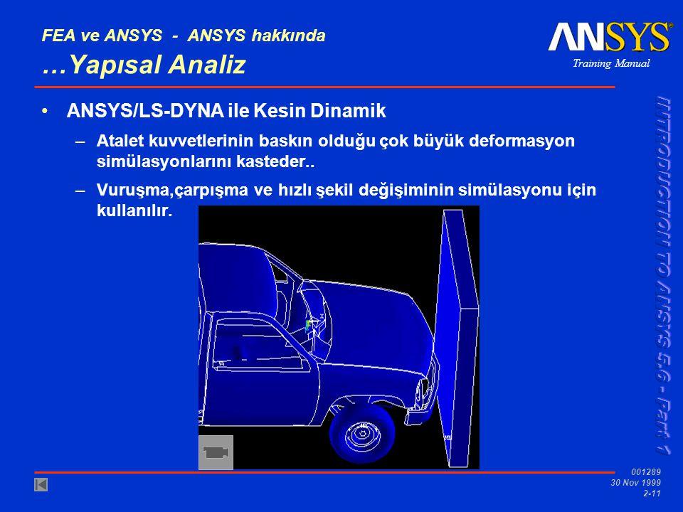 Training Manual 001289 30 Nov 1999 2-11 FEA ve ANSYS - ANSYS hakkında …Yapısal Analiz ANSYS/LS-DYNA ile Kesin Dinamik –Atalet kuvvetlerinin baskın old