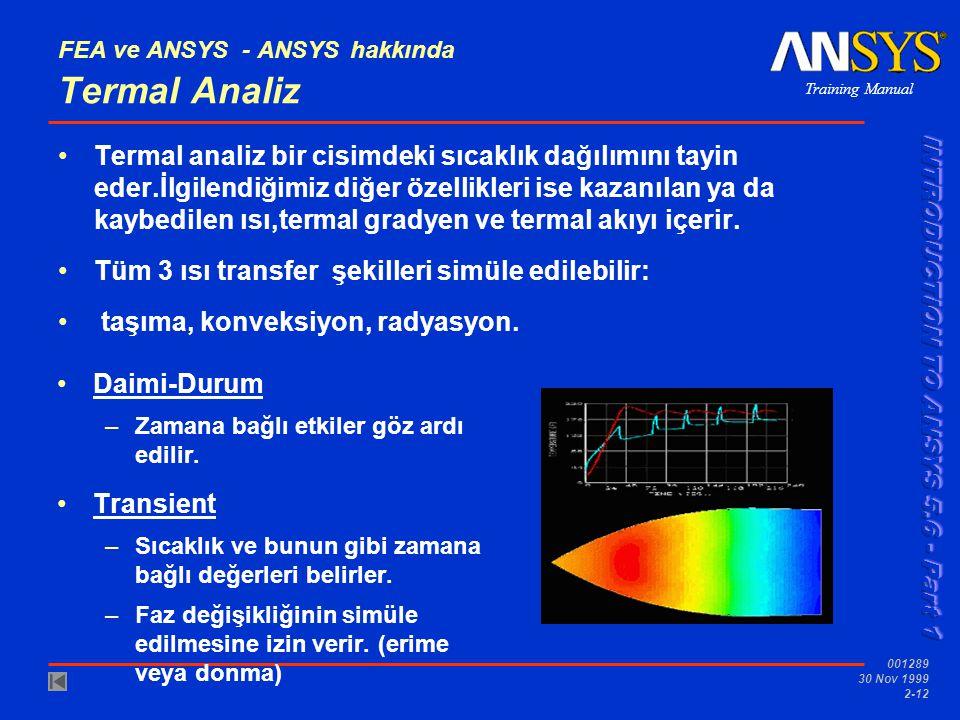 Training Manual 001289 30 Nov 1999 2-12 FEA ve ANSYS - ANSYS hakkında Termal Analiz Termal analiz bir cisimdeki sıcaklık dağılımını tayin eder.İlgilen