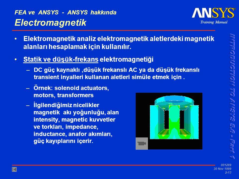 Training Manual 001289 30 Nov 1999 2-13 FEA ve ANSYS - ANSYS hakkında Electromagnetik Elektromagnetik analiz elektromagnetik aletlerdeki magnetik alan