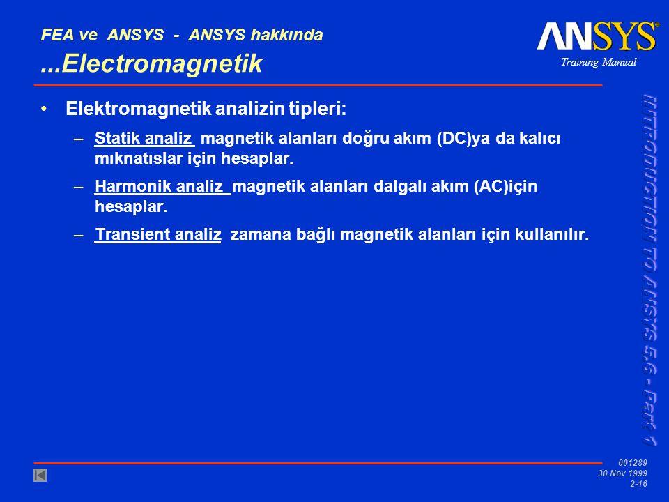 Training Manual 001289 30 Nov 1999 2-16 FEA ve ANSYS - ANSYS hakkında...Electromagnetik Elektromagnetik analizin tipleri: –Statik analiz magnetik alan