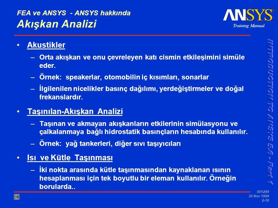 Training Manual 001289 30 Nov 1999 2-18 FEA ve ANSYS - ANSYS hakkında Akışkan Analizi Akustikler –Orta akışkan ve onu çevreleyen katı cismin etkileşim